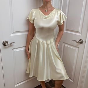 Vintage 80s yellow silk dress